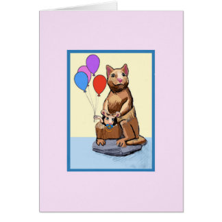 Kangaroo with Balloons Baby Girl Card
