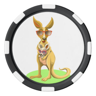 Kangaroo with glasses poker chips