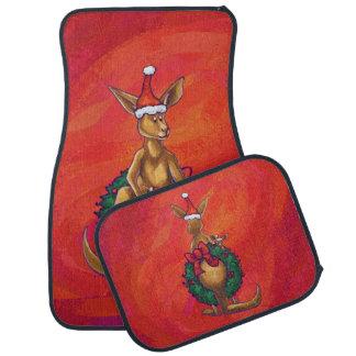 Kangaroo Xmas On Red Floor Mat