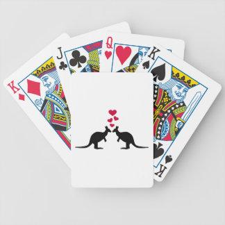 Kangaroos red hearts love bicycle playing cards
