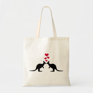 Kangaroos red hearts love tote bag