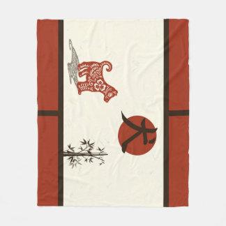 Kanji Dog on Red Barred Fleece Blanket