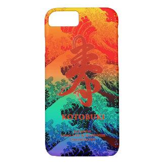 """Kanji Japanese Calligraphy """"KOTOBUKI"""" & wave 004 iPhone 7 Case"""