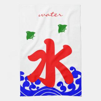 "kanji ""water"" in a koribata style tea towel"