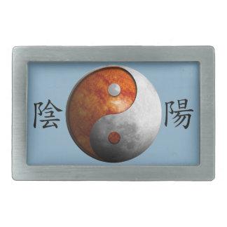 Kanji with Sun & Moon Yin Yang Rectangular Belt Buckles