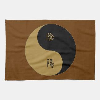 Kanji Yin Yang brown n black Tea Towel