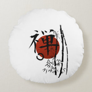 Kanji_zen enso bamboo round cushion
