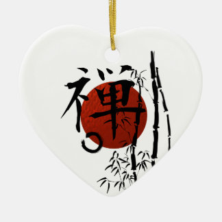 Kanji Zen with Enso and Bamboo Ceramic Ornament