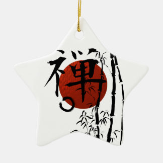 Kanji Zen with Enso and Bamboo Ceramic Star Decoration
