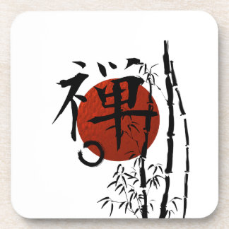 Kanji Zen with Enso and Bamboo Drink Coaster