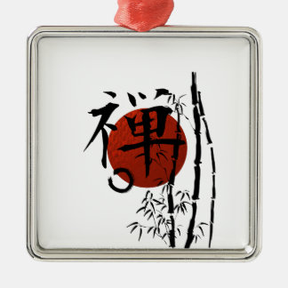 Kanji Zen with Enso and Bamboo Metal Ornament