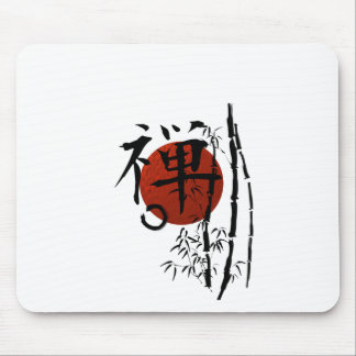 Kanji Zen with Enso and Bamboo Mouse Pad