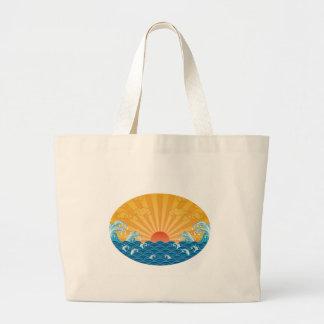 Kanjiz illustration : the rising sun and rough sea jumbo tote bag