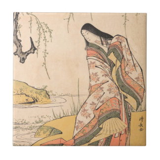 Kanjo A Court Lady Torii Kiyonaga japanese beauty Small Square Tile