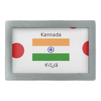 Kannada Language And Indian Flag Design Rectangular Belt Buckles