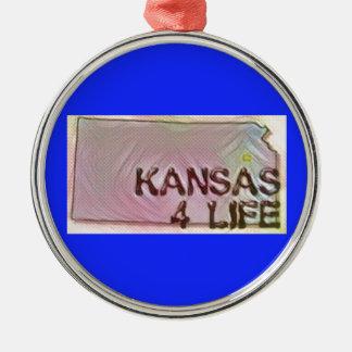 """Kansas 4 Life"" State Map Pride Design Metal Ornament"