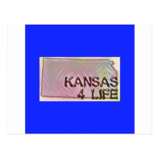 """""""Kansas 4 Life"""" State Map Pride Design Postcard"""