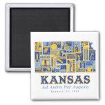 Kansas - Ad Astra Per Aspera - Square Magnet