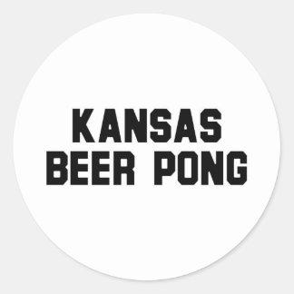 Kansas Beer Pong Round Stickers