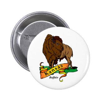 Kansas Buffalo Pinback Button