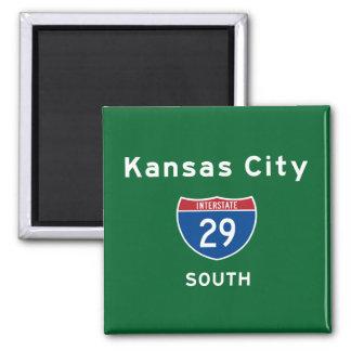 Kansas City 29 Square Magnet