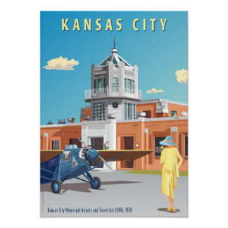 Kansas City Airport Art Deco Poster