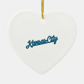 Kansas City in cyan Ceramic Ornament