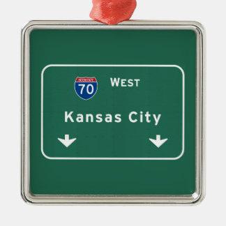 Kansas City KC Missouri Interstate Highway Freeway Metal Ornament