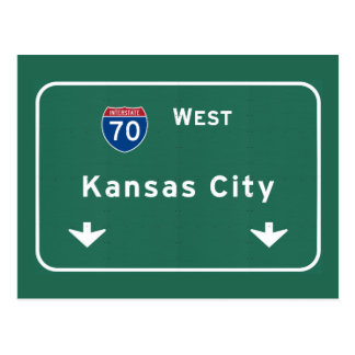 Kansas City KC Missouri Interstate Highway Freeway Postcard