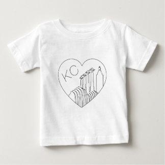 Kansas City - Minimalist Line Art Skyline Heart Baby T-Shirt