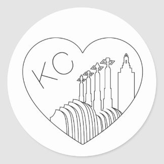 Kansas City - Minimalist Line Art Skyline Heart Classic Round Sticker