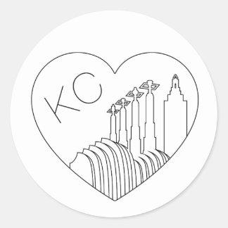 Kansas City - Minimalist Line Art Skyline Heart Round Sticker