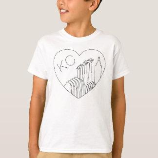 Kansas City - Minimalist Line Art Skyline Heart T-Shirt