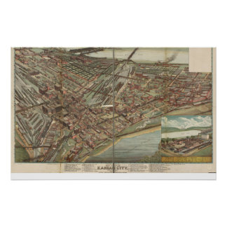 Kansas City Missouri 1895 Antique Panoramic Map Poster