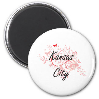 Kansas City Missouri City Artistic design with but 6 Cm Round Magnet
