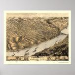 Kansas City, MO Panoramic Map - 1869 Print
