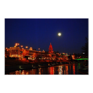 Kansas City Plaza Christmas Lights Under Full Moon Poster