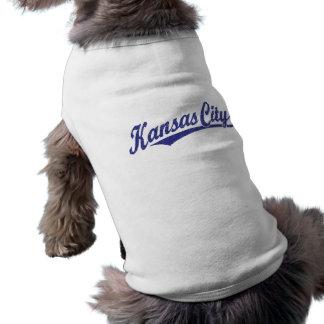 Kansas City script logo in blue distressed Sleeveless Dog Shirt