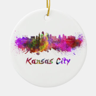 Kansas City skyline in watercolor Ceramic Ornament
