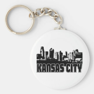 Kansas City Skyline Basic Round Button Key Ring