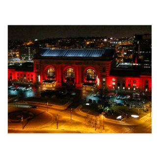 Kansas City Union Station in Red Postcard