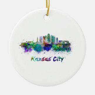 Kansas City V2 skyline in watercolor Ceramic Ornament