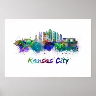 Kansas City V2 skyline in watercolor Poster