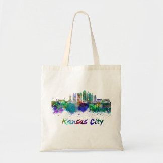 Kansas City V2 skyline in watercolor Tote Bag