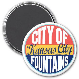 Kansas City Vintage Label 7.5 Cm Round Magnet
