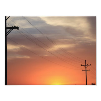 Kansas Country Orange Sunset Photographic Print