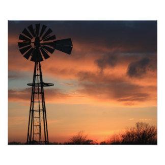Kansas Country Orange sunset with cloud s Photo