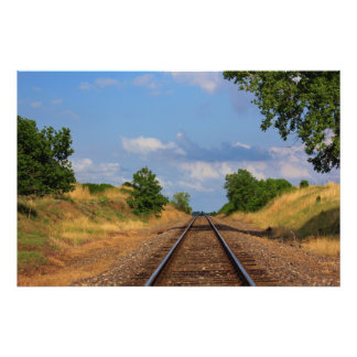 Kansas Country Rail Road track's with blue sky Art Photo