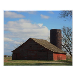 Kansas Country Red Barn with Blue sky Photo Print