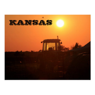 Kansas Country Tractor Silhouette Post Card